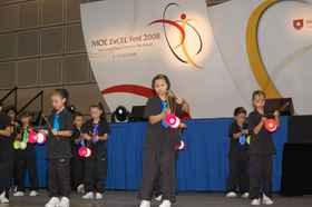 Members of the Diabolo Club performing at the 2008 ExCEL Fes.jpg